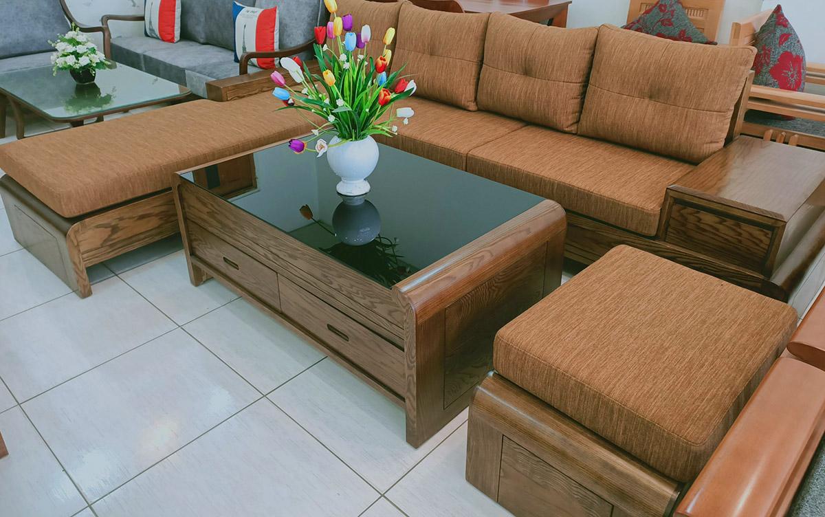 Hình ảnh Sofa góc chữ L với màu nệm tương đồng màu gỗ bắt mắt