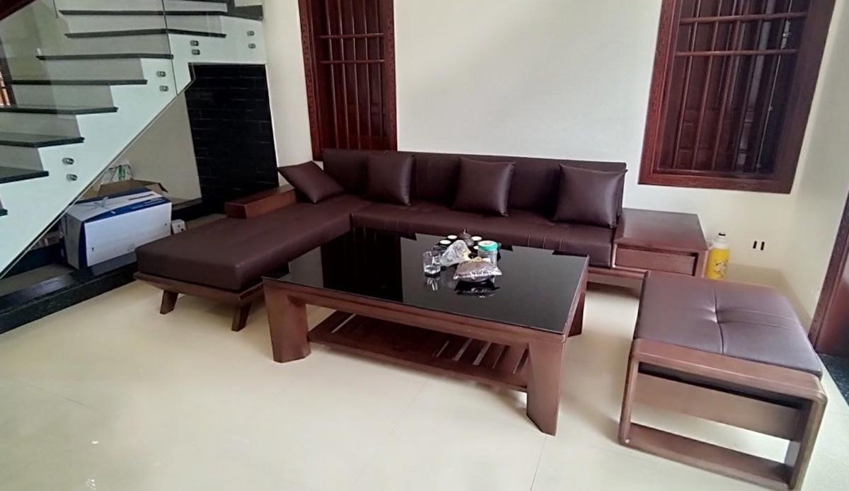 Sofa gỗ góc kê góc cầu thang tiết kiệm không gian