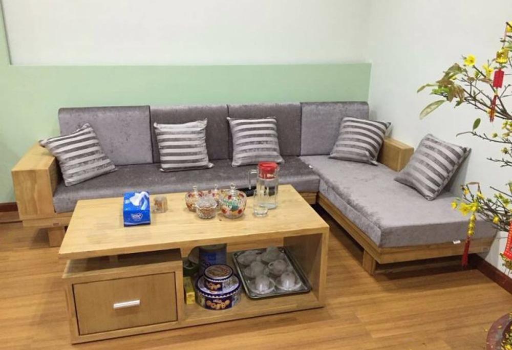sofa gỗ góc kê góc nhà