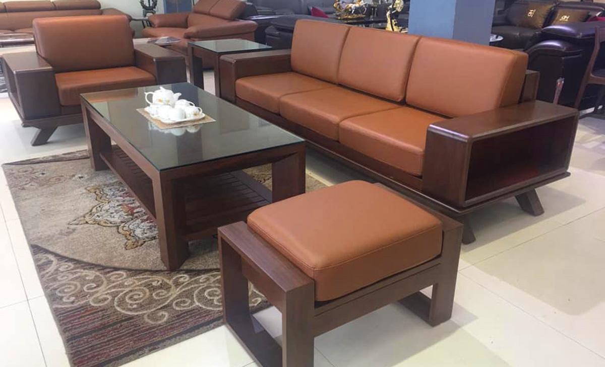 Sofa gỗ kiểu dáng hiện đại có thể kê ở đại sảnh
