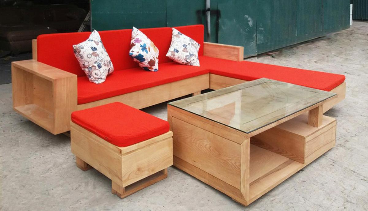 Hình ảnh Sofa nguyên khối đệm màu đỏ nổi bật - Làm đệm sofa gỗ theo yêu cầu
