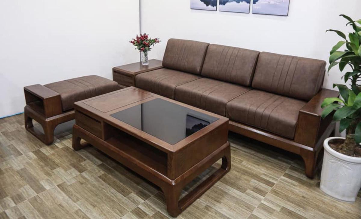 Sofa văng 3 chỗ kết hợp 1 ghế đôn lịch sự