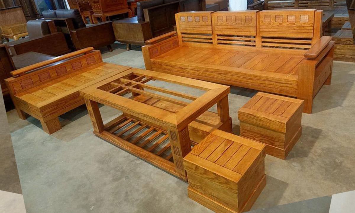 Sofa gỗ theo bộ màu sắc tươi sáng trẻ trung