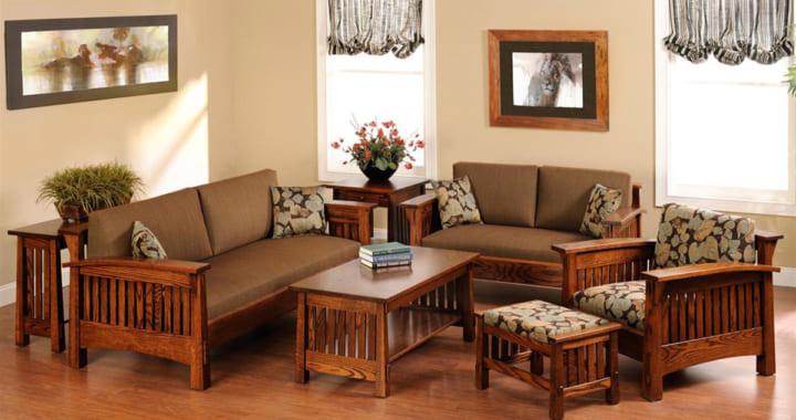 sofa gỗ truyền thống kèm nệm
