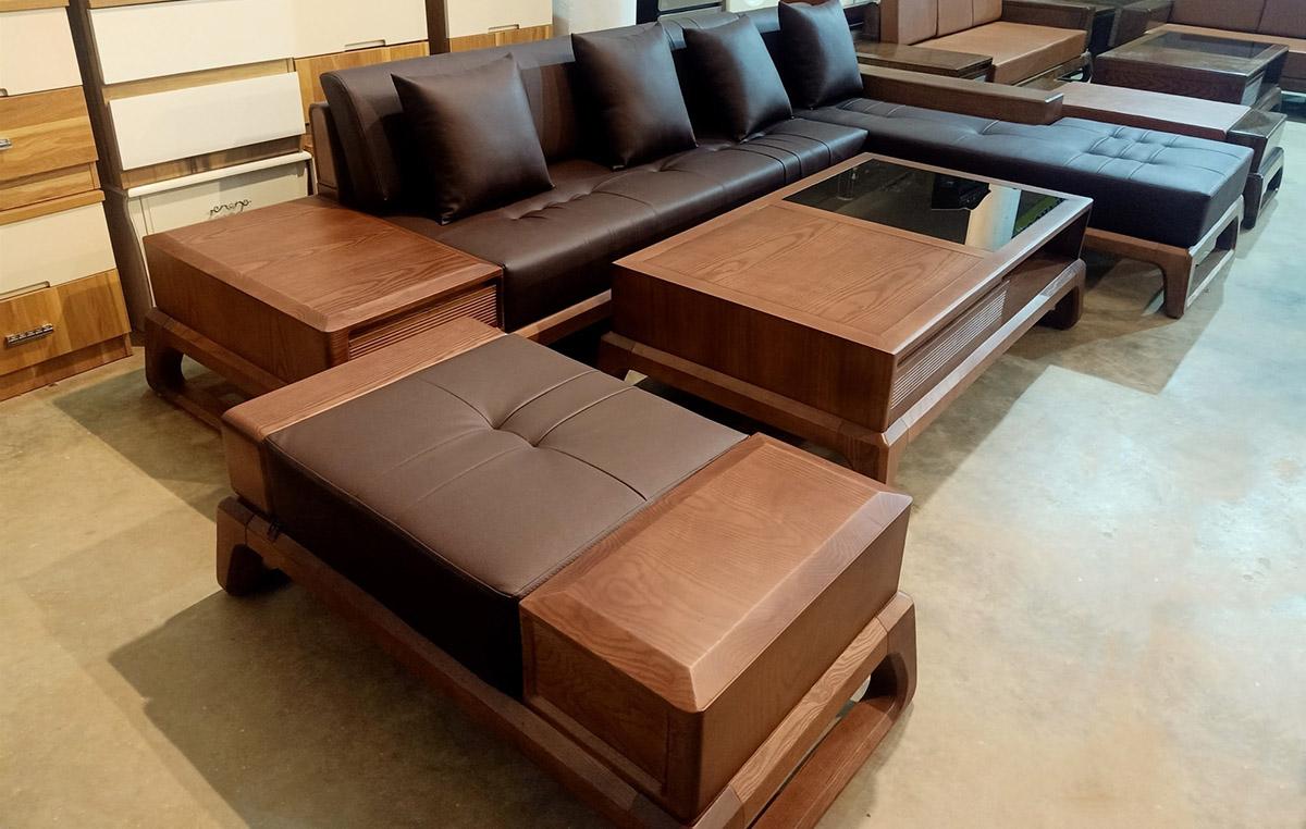 Sofa góc chữ L sử dụng kết hợp đôn lớn