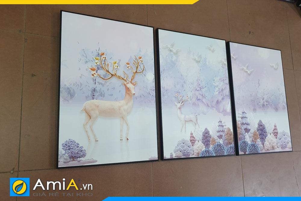 Tranh bộ canvas Bắc Âu hiện đại, hình ảnh thực tế được chụp tại showroom Siêu thị tranh treo tường AmiA.