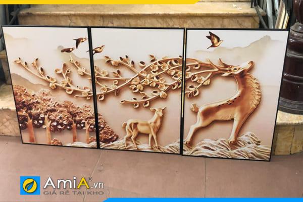 Tranh bộ canvas hươu in giả 3D được chụp tại cửa hàng đẹp