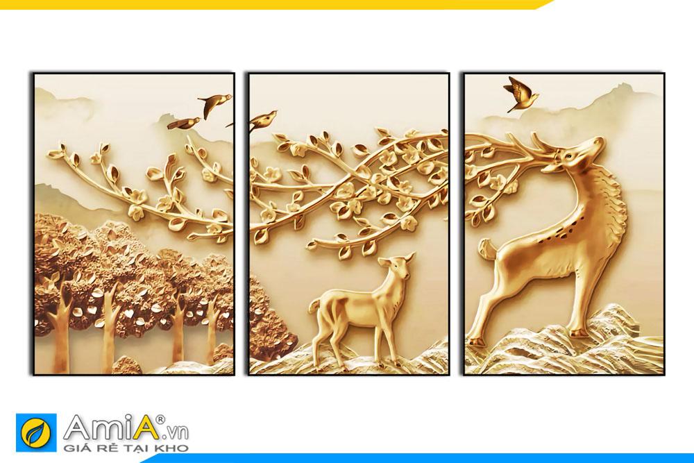 Tranh canvas hươu in giả 3D bộ 3 tấm AmiA 1853