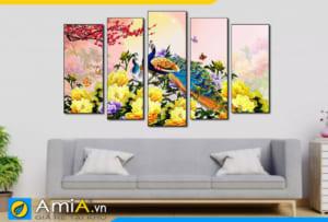 Tranh chim công hoa mẫu đơn ghép bộ treo tường phòng khách hiện đại Amia 1869
