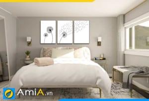Tranh treo tường phòng ngủ hoa bồ công anh đen trắng đẹp AmiA 1860