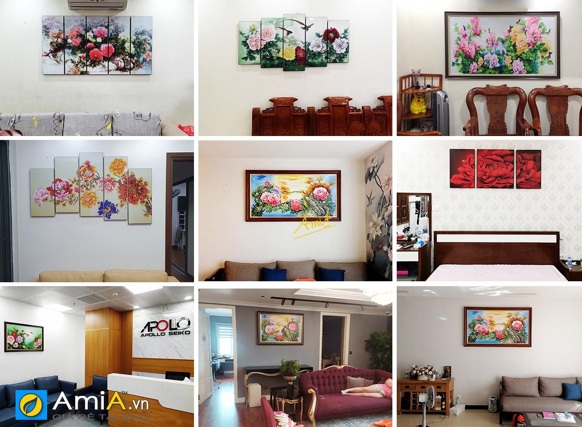 Hình ảnh Tranh hoa mẫu đơn của AmiA treo tại không gian nhà khách hàng