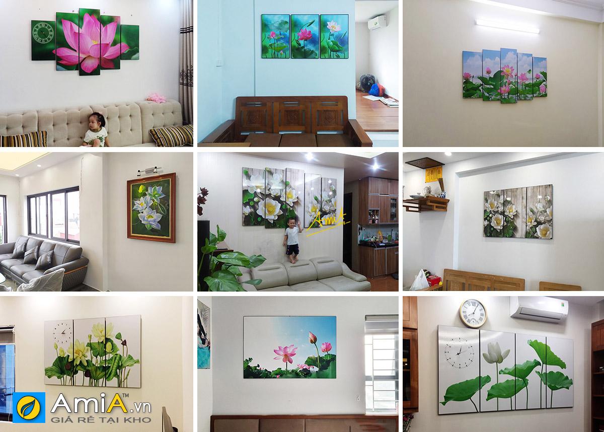 Hình ảnh Tranh hoa sen đẹp được AmiA hoàn thiện tại không gian nhà khách hàng