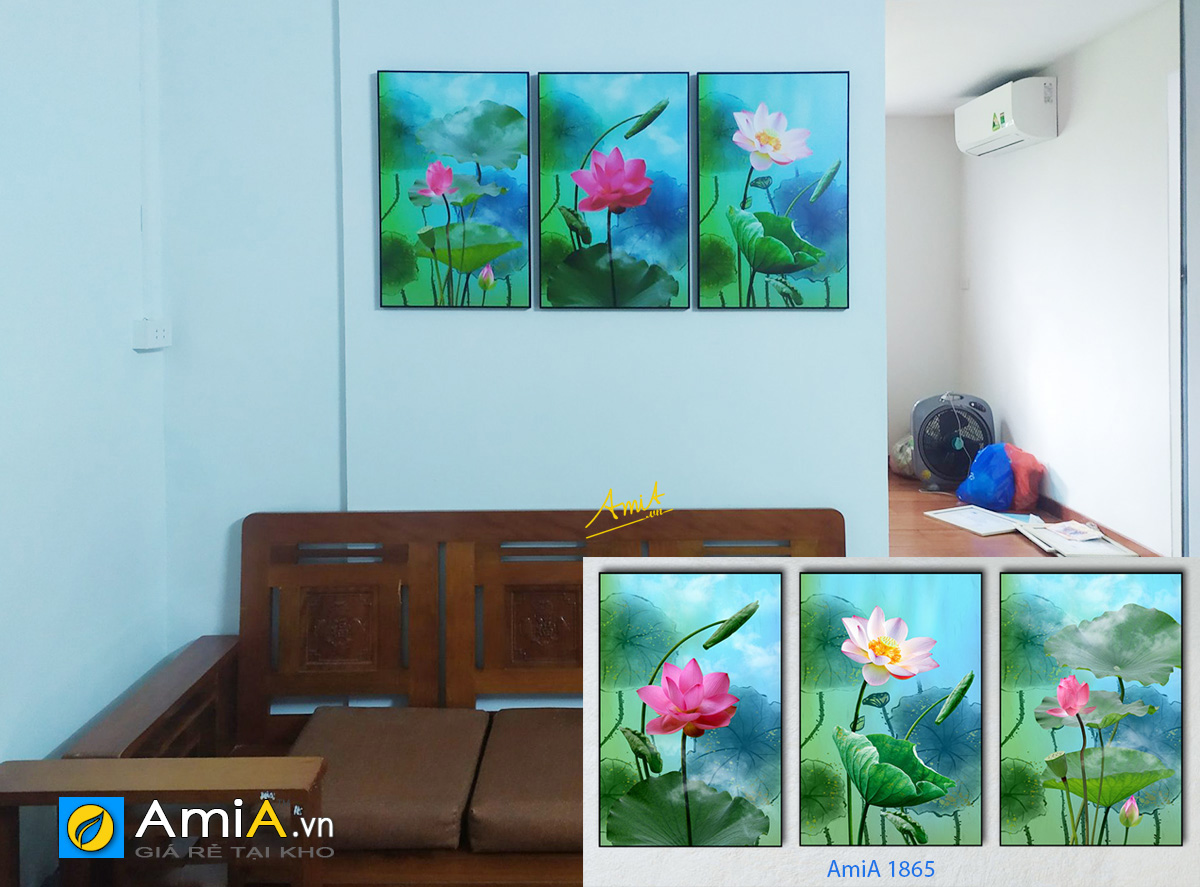 Hình ảnh Tranh hoa sen ghép bộ 3 tấm treo phòng khách đẹp