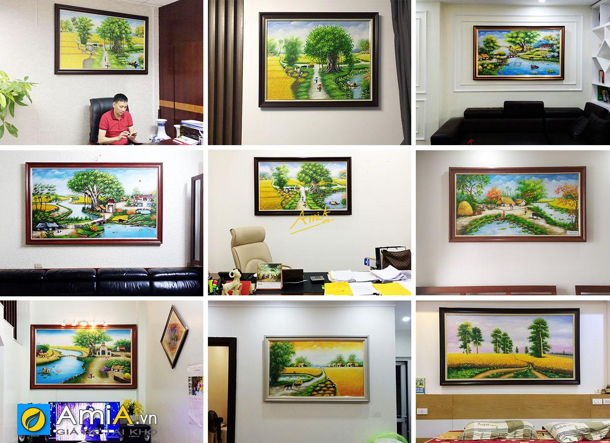 Hình ảnh Tranh làng quê, đồng quê Việt Nam treo tại không gian nhà khách hàng AmiA