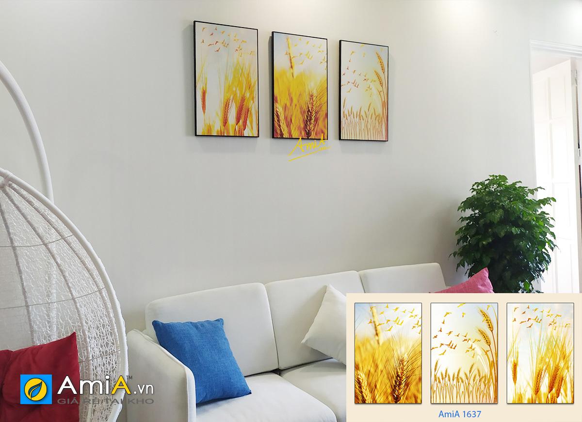 Hình ảnh Bộ tranh lúa vàng trang trí phòng khách chung cư đẹp hiện đại