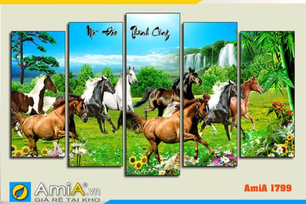 Tranh ngựa chạy trên đồng cỏ xanh ghép bộ 5 tấm hiện đại AmiA 1799