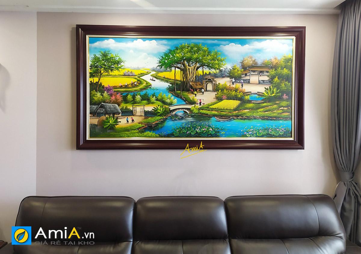 Hình ảnh Tranh phong cảnh làng quê Việt Nam treo tường phòng khách chung cư