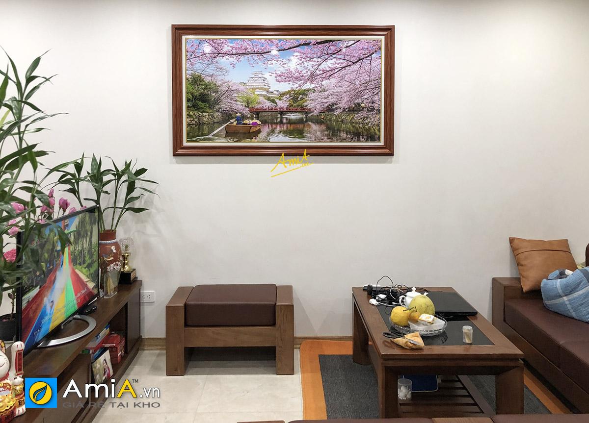 Hình ảnh Tranh phong cảnh Nhật Bản treo tường phòng khách đẹp