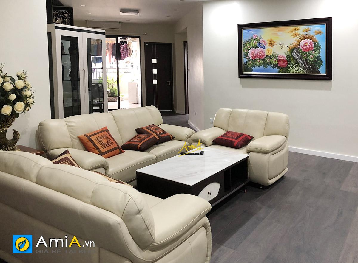 Hình ảnh Tranh phòng khách căn hộ chung cư hoa mẫu đơn vẽ sơn dầu mã TSD 444