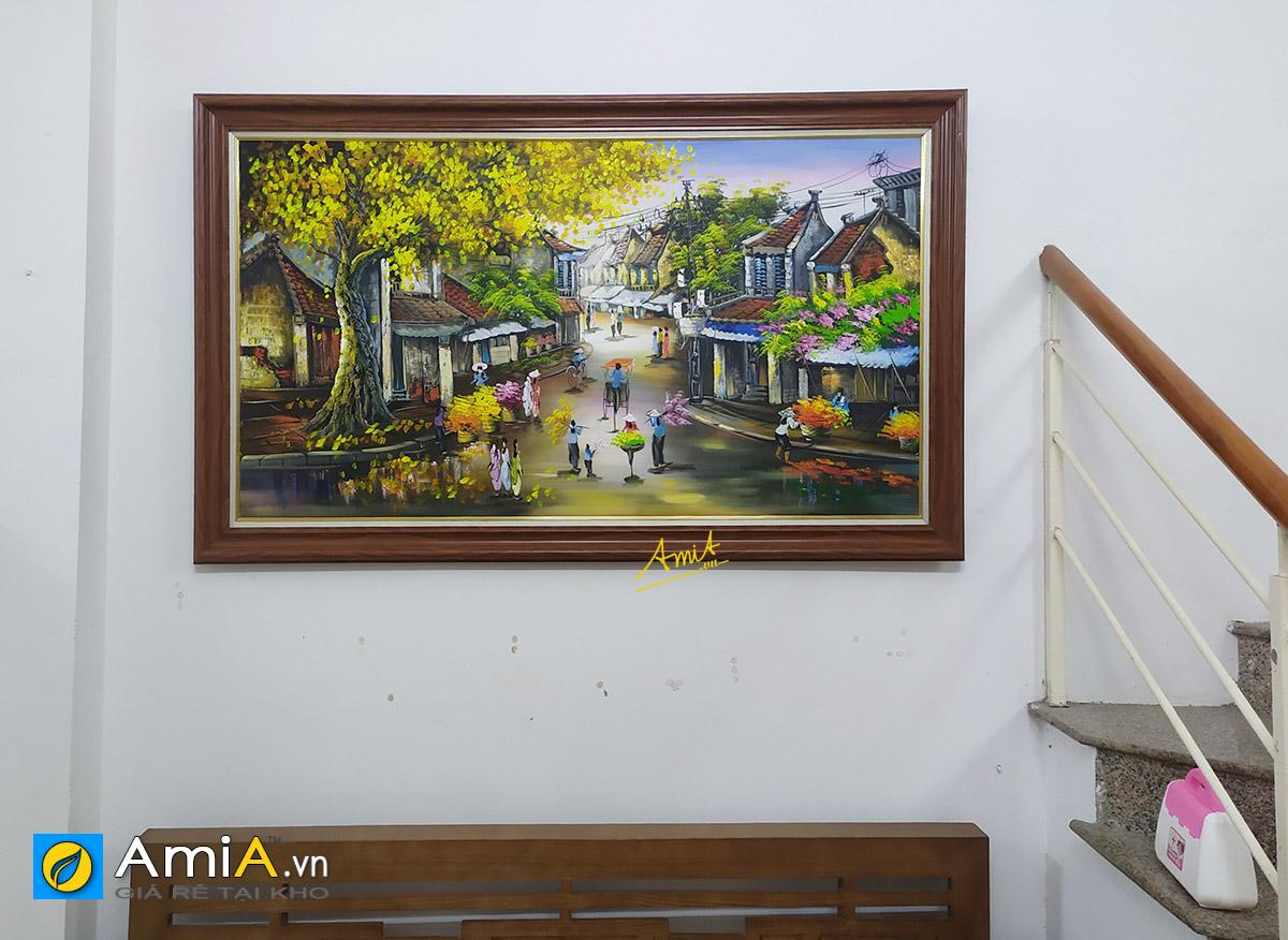 Hình ảnh Tranh phòng khách đẹp phố cổ Hà Nội vẽ sơn dầu