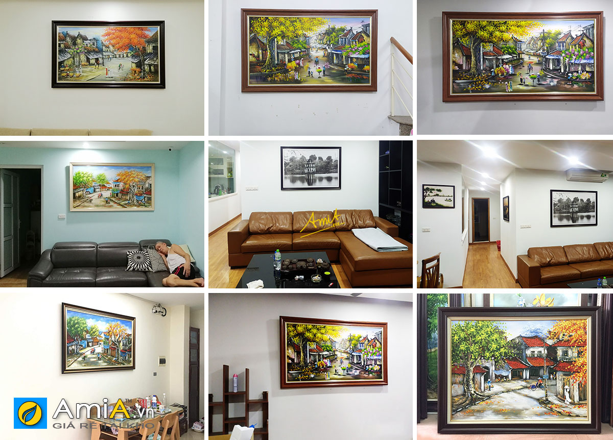 Hình ảnh Tranh sơn dầu phố cổ Hà Nội treo tại nhà khách hàng AmiA