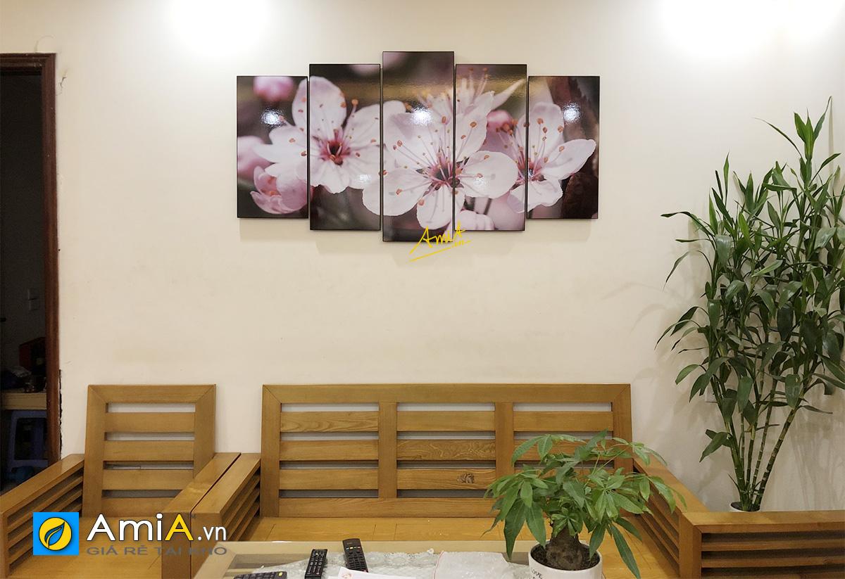 Hình ảnh Tranh trang trí phòng khách hình ảnh hoa đẹp hiện đại