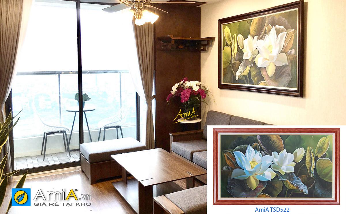 Hình ảnh Tranh treo phòng khách đẹp bức hoa sen trắng vẽ sơn dầu