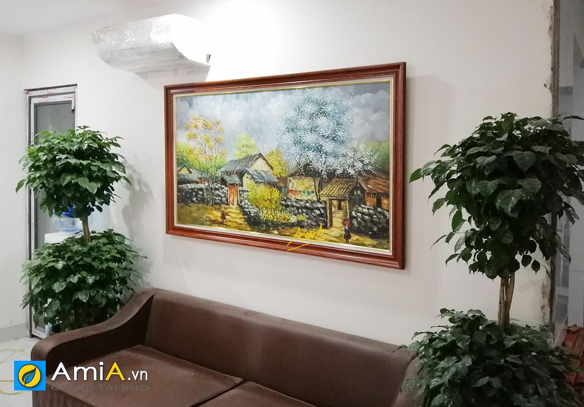 Hình ảnh Tranh treo phòng khách phong cảnh làng quê Việt Nam