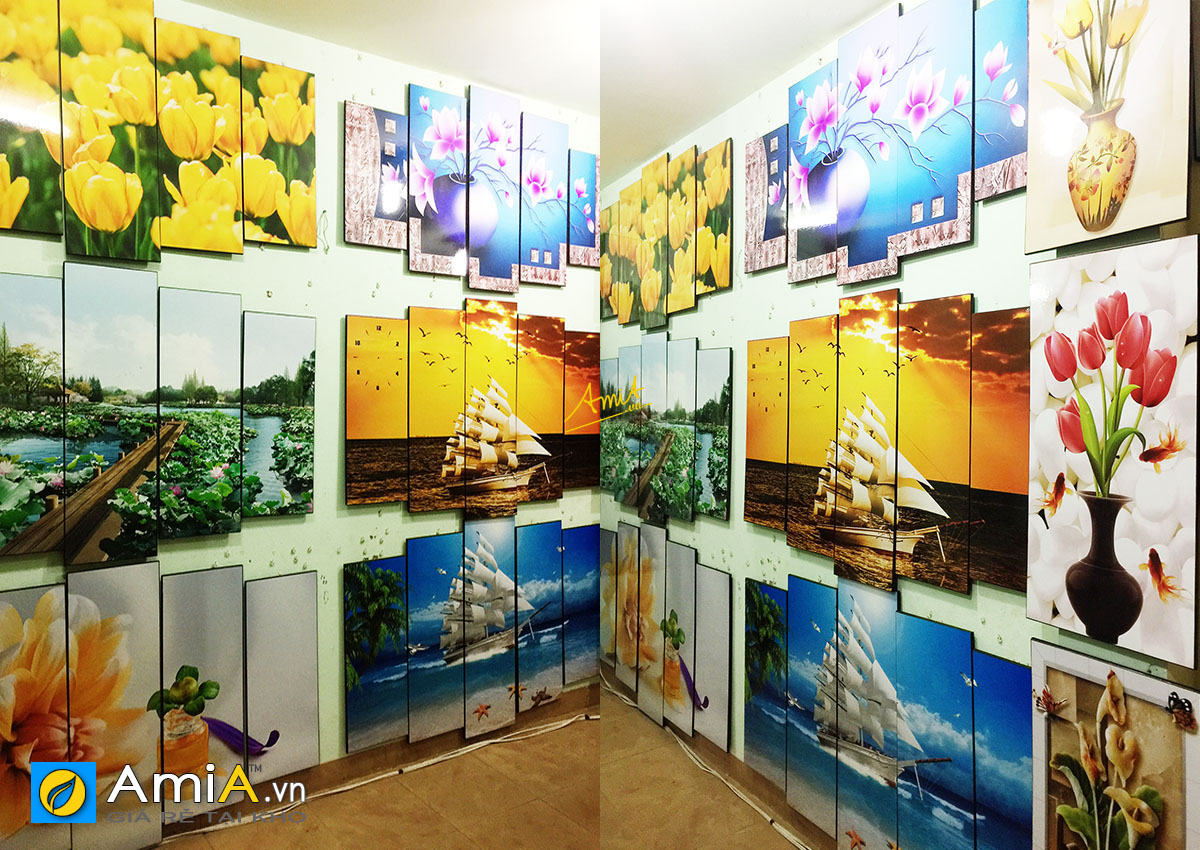 Hình ảnh Tranh treo tường in ép gỗ trưng bày tại cửa hàng tranh đẹp AmiA