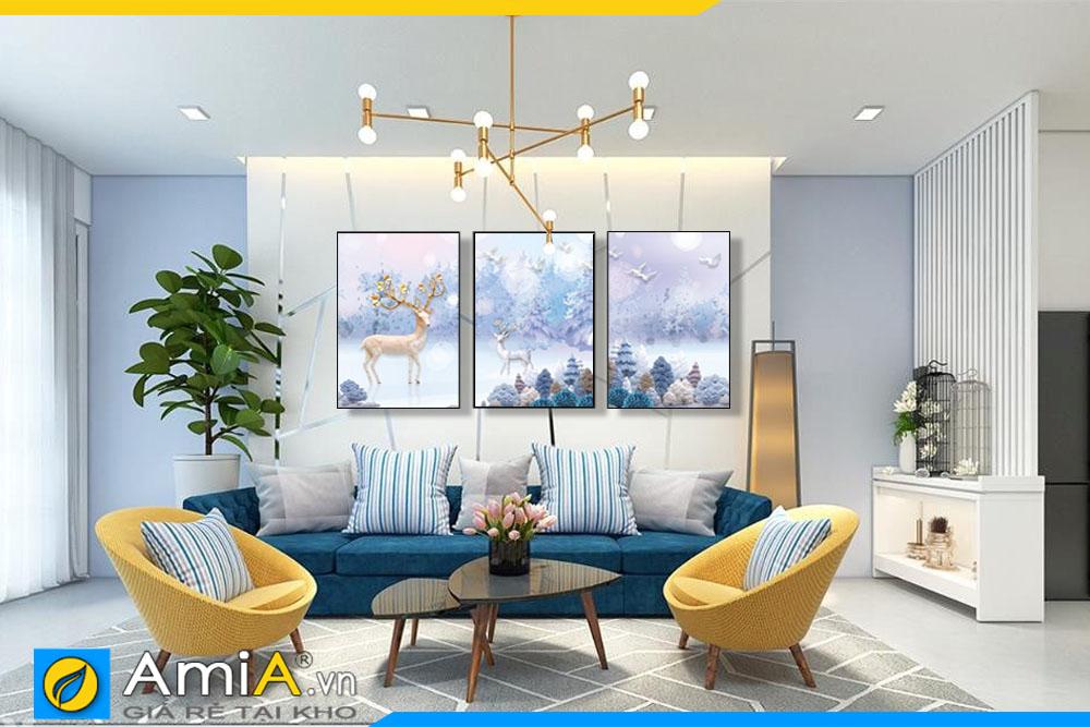 Tranh bộ canvas treo tường phòng khách hiện đại AmiA 1871
