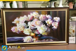 Tranh bình hoa mẫu đơn vẽ sơn dầu đẹp AmiA TSD MD001