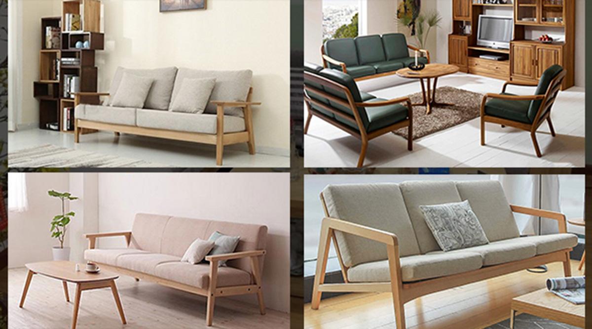 sofa gỗ đơn giản, thanh mảnh