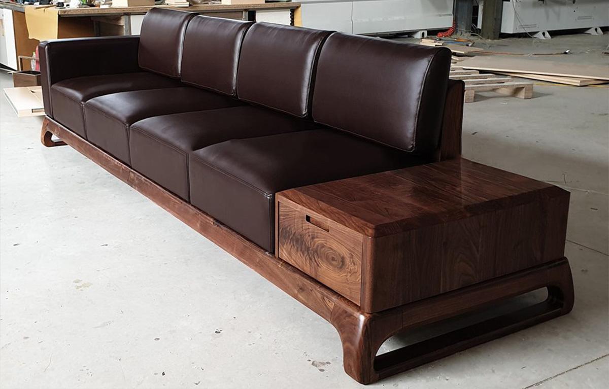 Mẫu sofa gỗ phòng khách làm từ gỗ Óc chó đẹp, sang