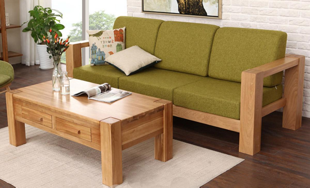 Sofa gỗ văng 3 chỗ ngồi có đệm ghế bọc nỉ xanh lá cây