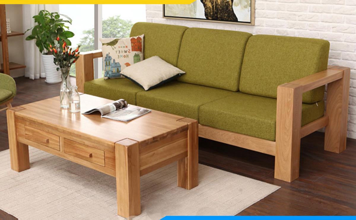 Ghế sofa gỗ văng 3 chỗ dài 2m cho không gian nhỏ