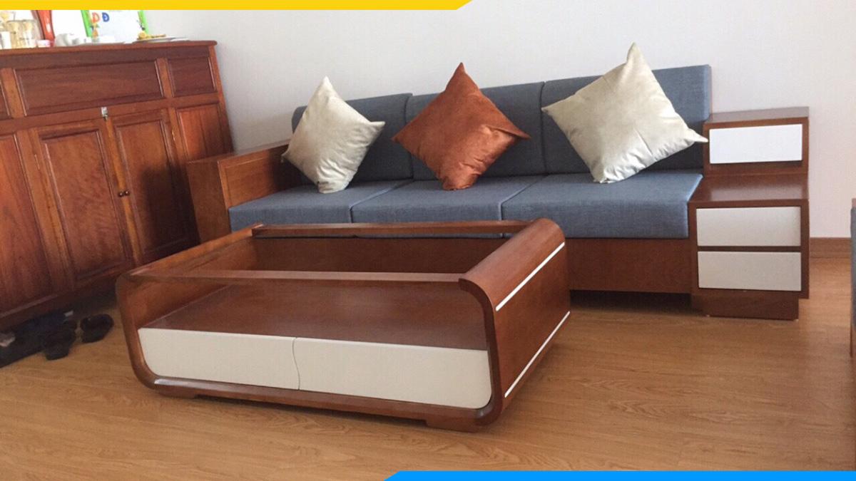 Sofa văng sồi Nga nhuộm màu nâu cánh gián tay hộp