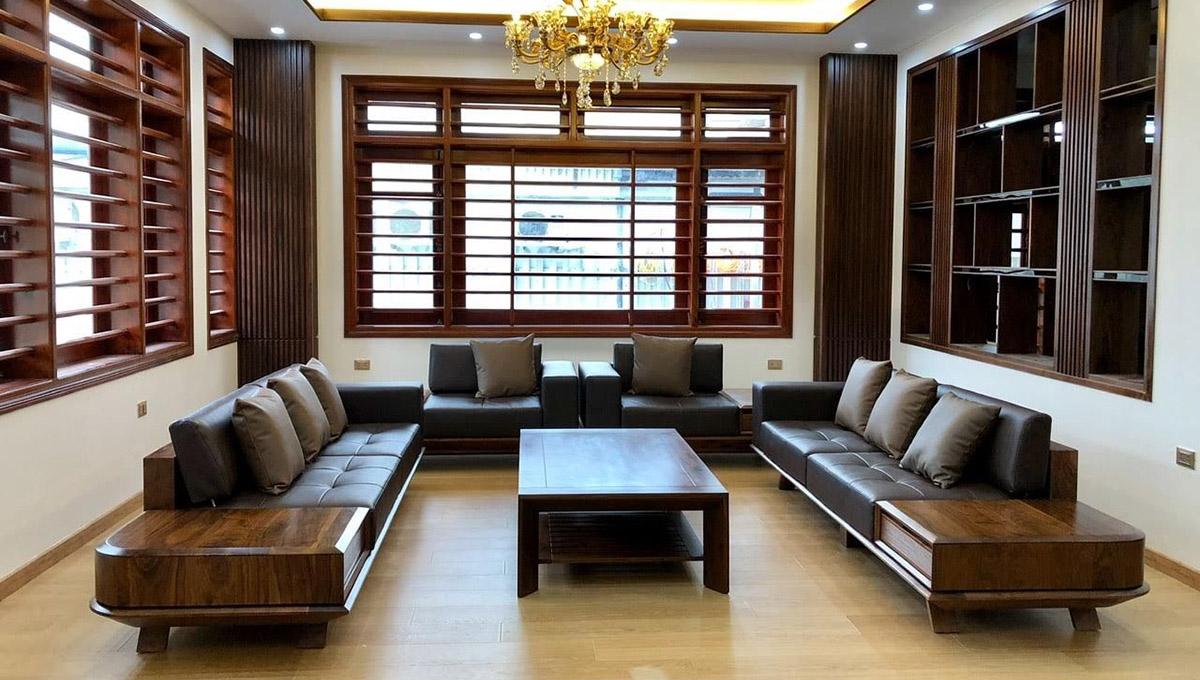 Ảnh bàn ghế sofa gỗ được làm từ gỗ Óc chó nhập khẩu chất lượng cao