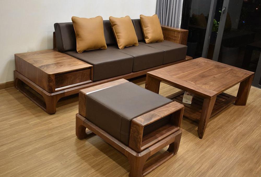 Bộ sofa gỗ màu nâu sang trọng cho tuổi Tỵ mệnh Thổ