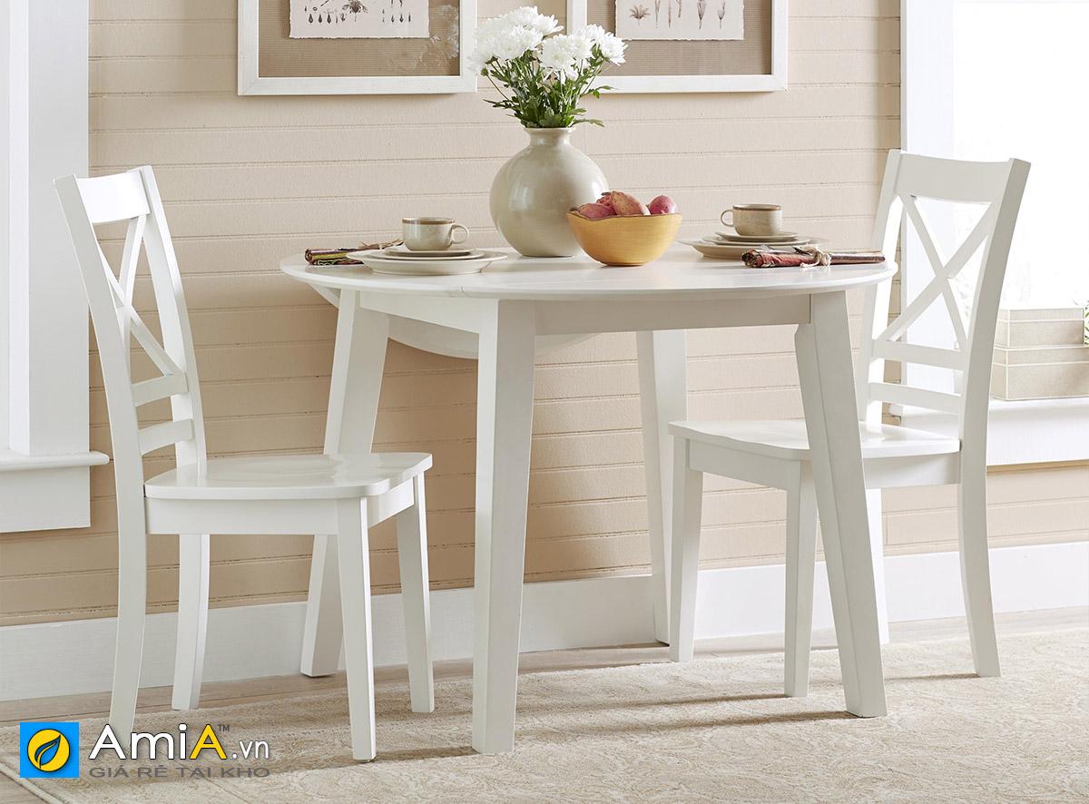 Hình ảnh Bàn ăn 2 ghế màu trắng thiết kế hình tròn đẹp hiện đại