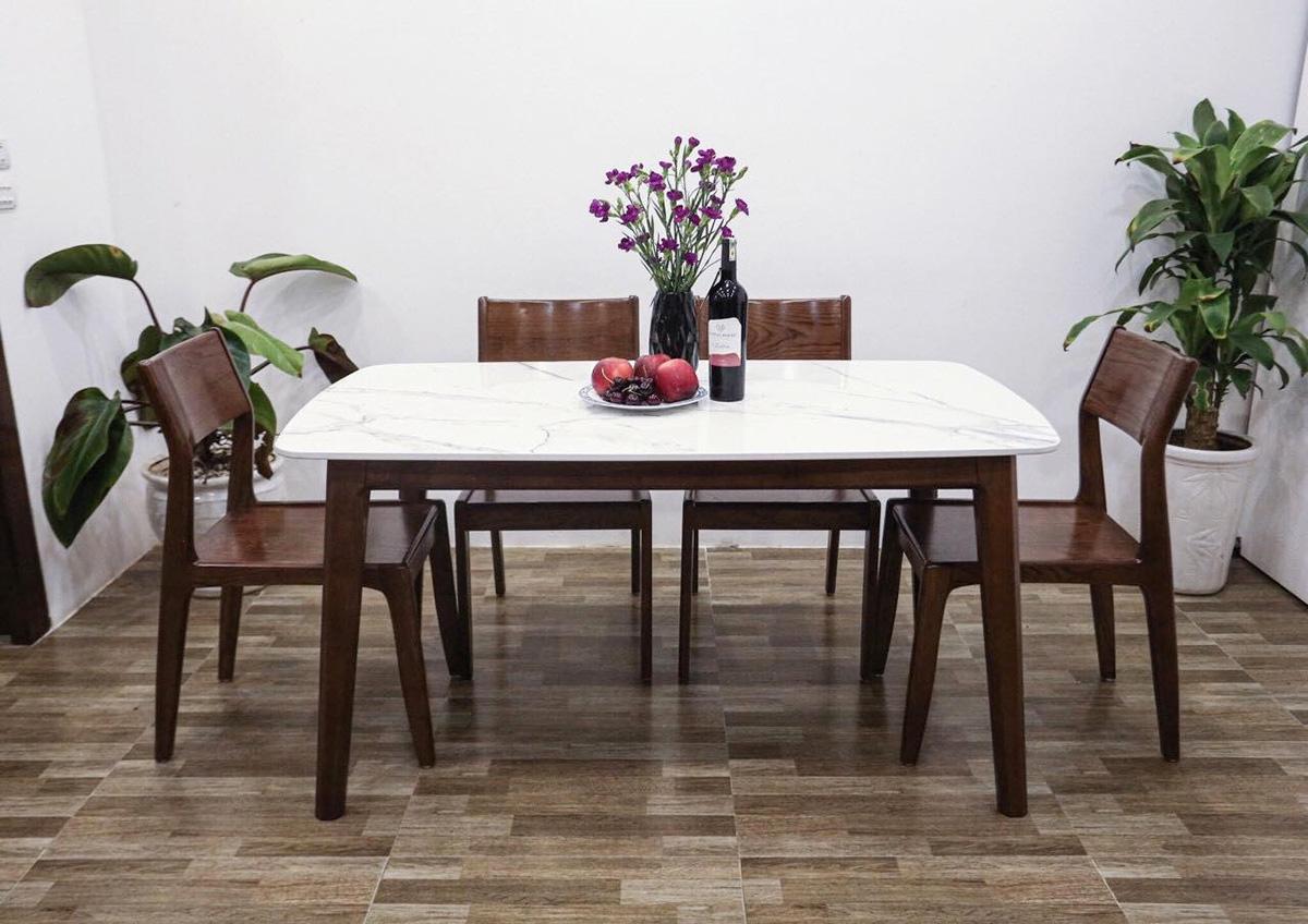 Hình ảnh Bàn ăn 4 ghế mặt đá hình chữ nhật đẹp sang trọng