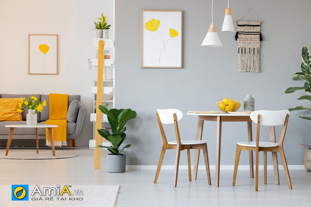 Hình ảnh Bộ bàn ăn cơm 2 ghế cho không gian nhỏ xinh gọn gàng