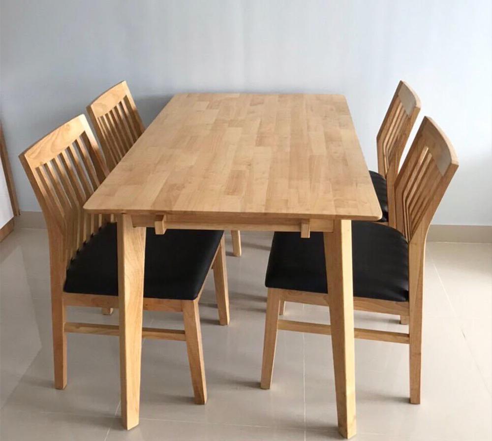 Hình ảnh Bàn ghế ăn 4 ghế gỗ đệm da đẹp hiện đại