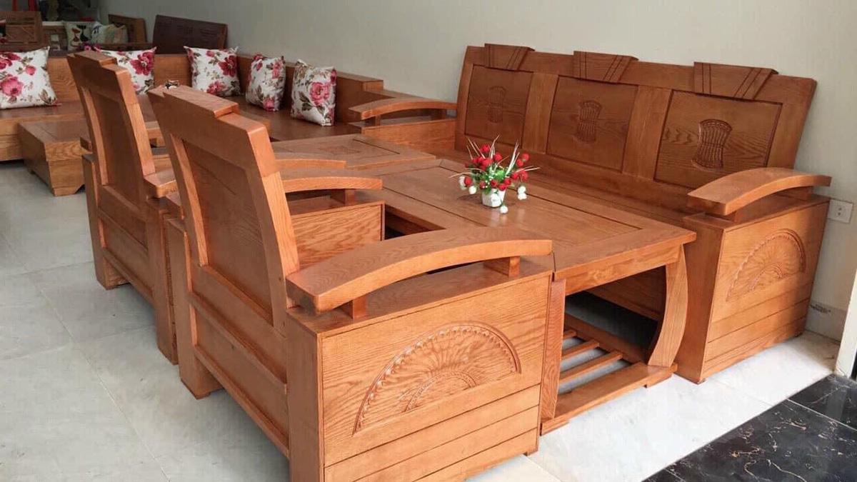 Bàn ghế sofa gỗ kết hợp 1 ghế văng 2 ghế chủ