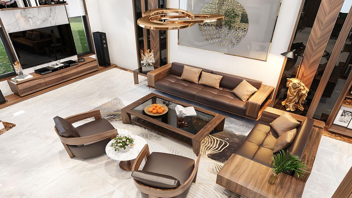 Bàn ghế sòa gỗ Óc chó phòng khách nhà vườn