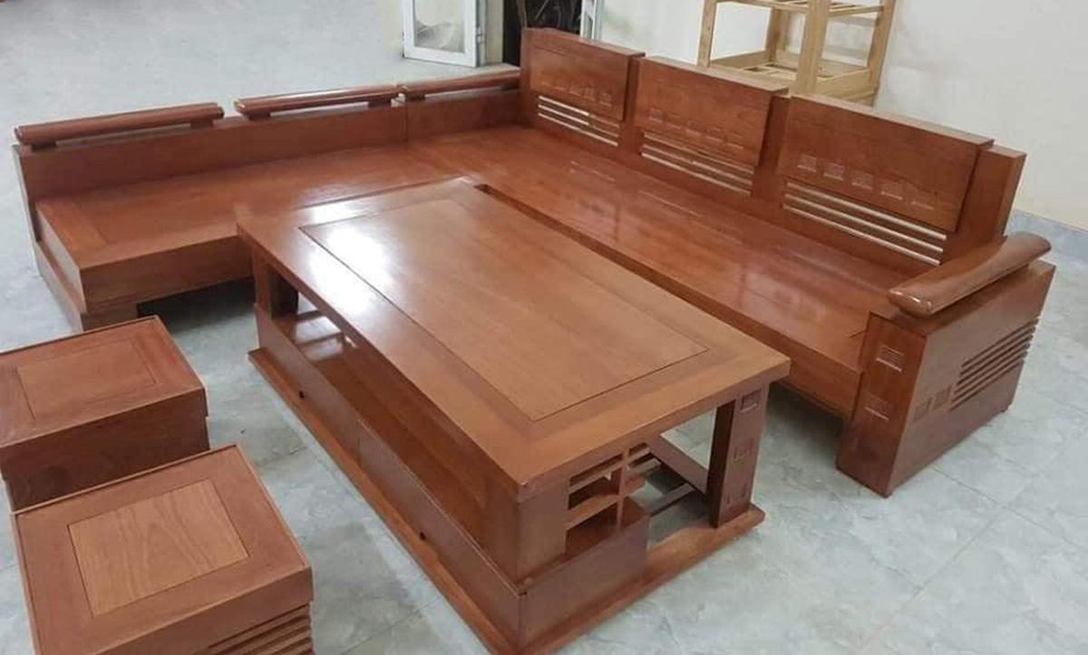 Bàn ghế sofa gỗ sang trọng làm từ gỗ Xoan