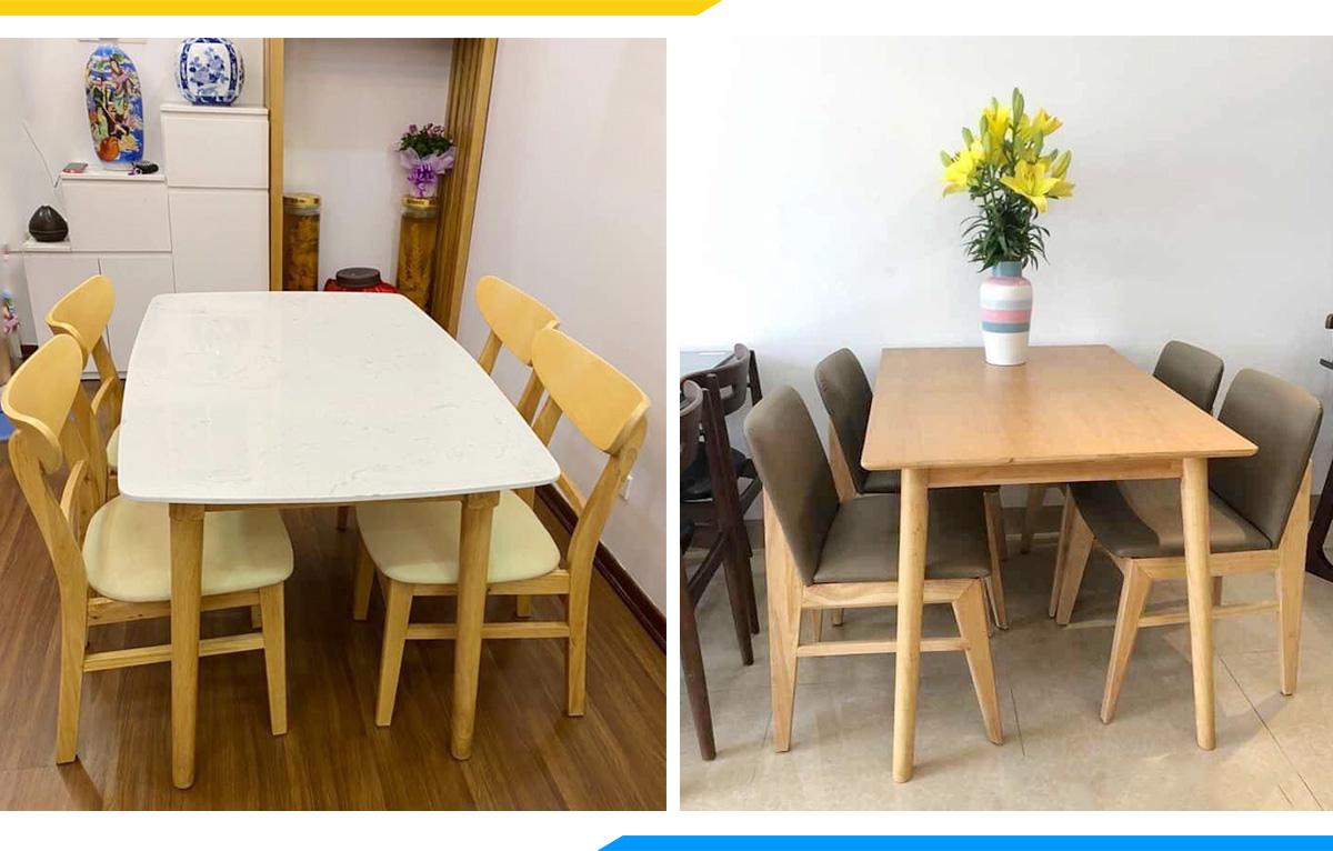 Hình ảnh Bộ bàn ăn 4 ghế mango và băn ăn bọc da đẹp hiện đại