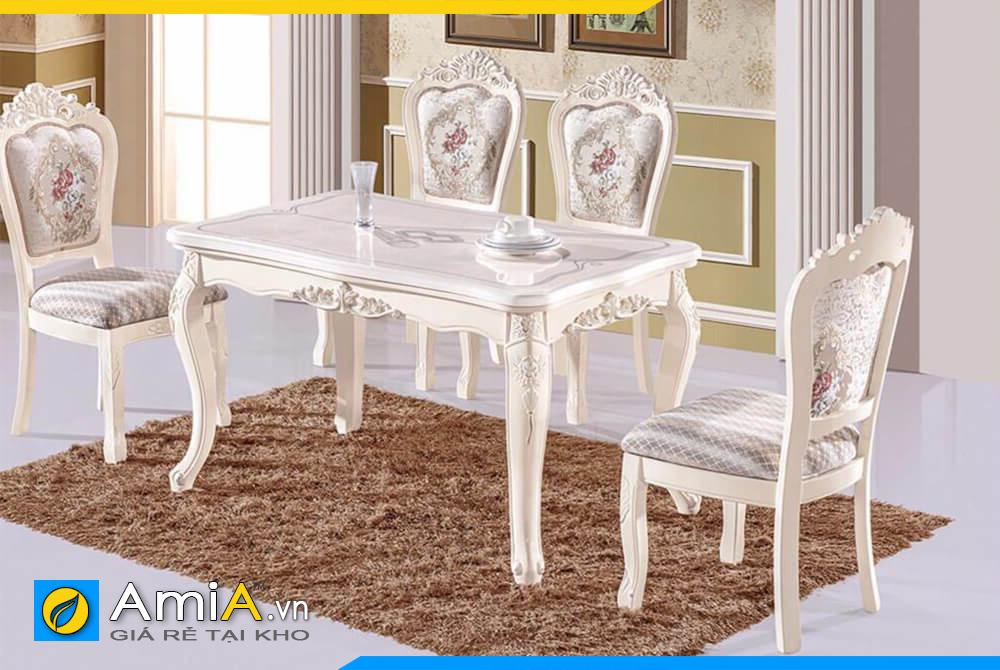 Hình ảnh Bộ bàn ăn 4 ghế phong cách tân cổ điển sang trọng