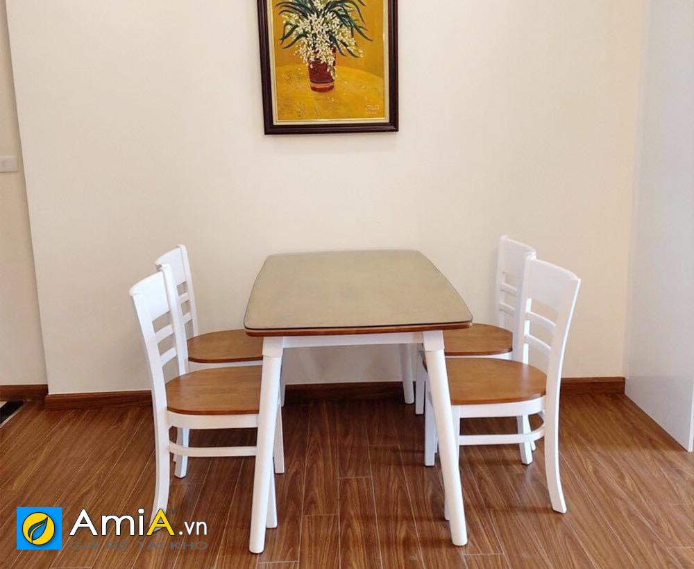 Hình ảnh Bộ bàn ghế ăn 4 chỗ màu trắng kiểu dáng cabin