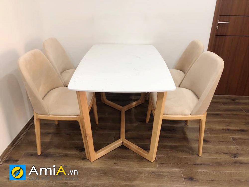 Hình ảnh Bộ bàn ghế ăn chân quỳ 4 ghế đẹp hiện đại nhỏ xinh
