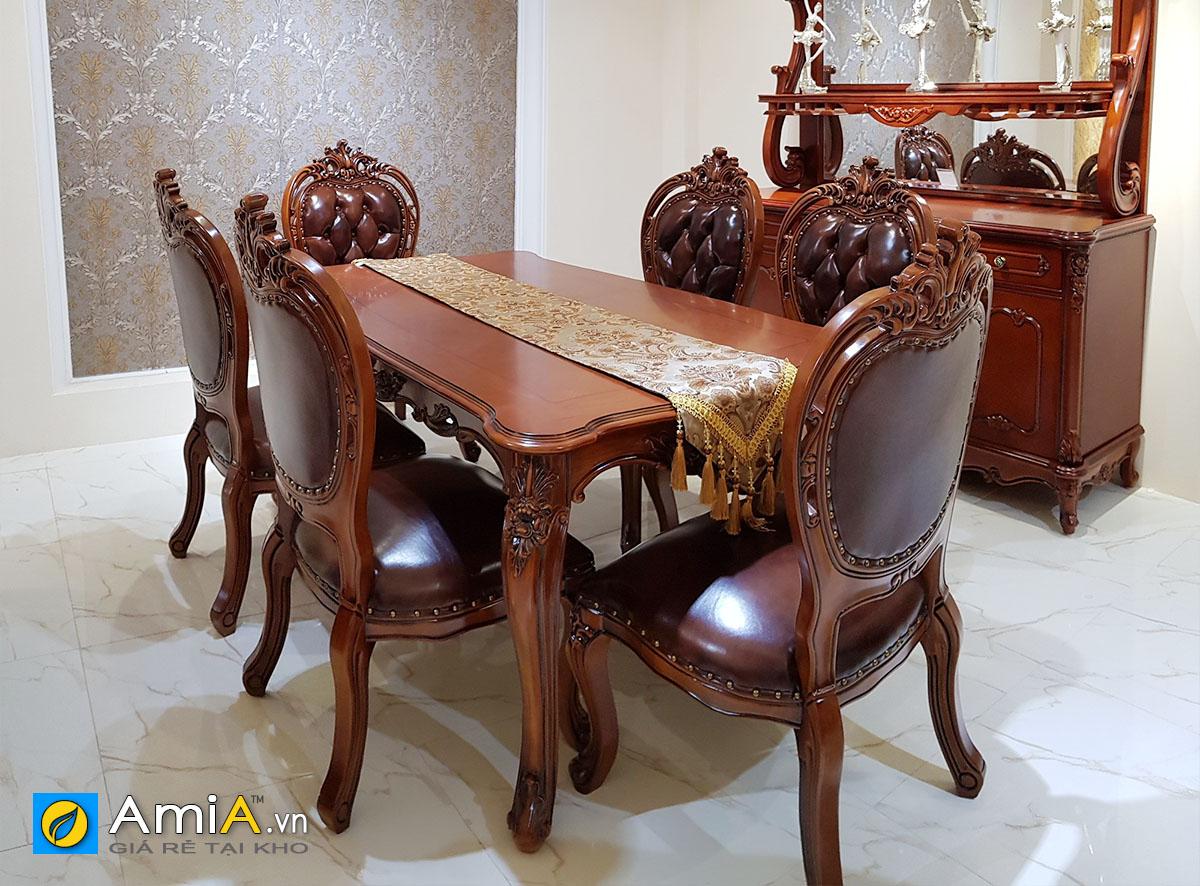 Hình ảnh Bộ bàn ghế ăn tân cổ điển hình chữ nhật 6 ghế gỗ tự nhiên